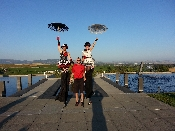 Valet with stilt walkers at Planned Parenthood fundraiser Napa California.